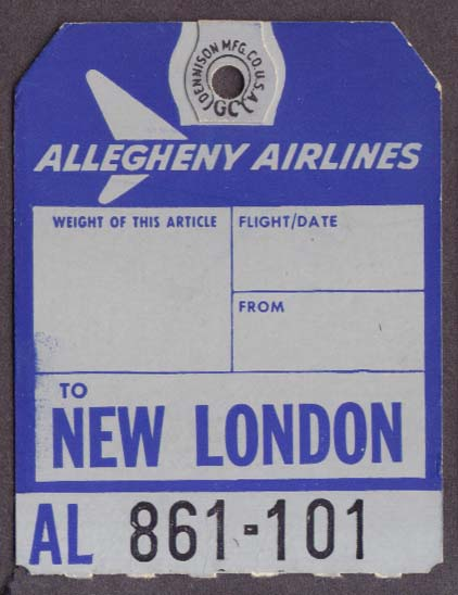 Allegheny Airlines baggage check New London CT GON