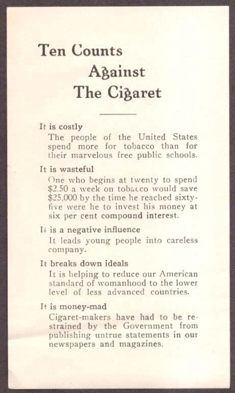 10 Counts Against the Cigaret WCTU flyer 1920s