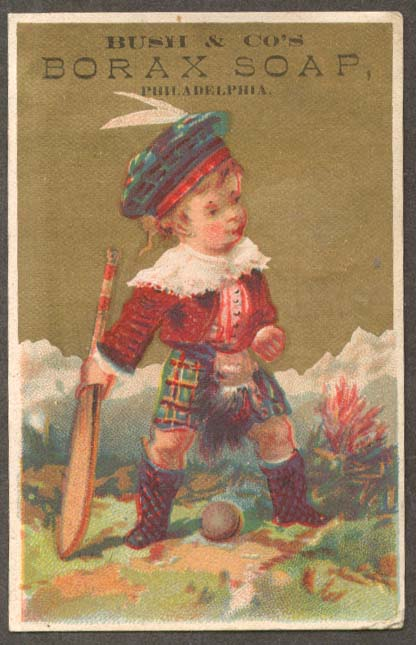 Image for Bush's Borax Soap Scottish boy cricket trade card