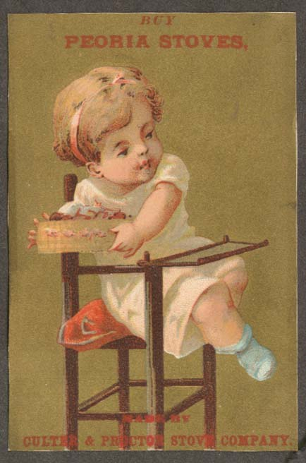 Image for Peoria Stoves trade card child high chair & bowl