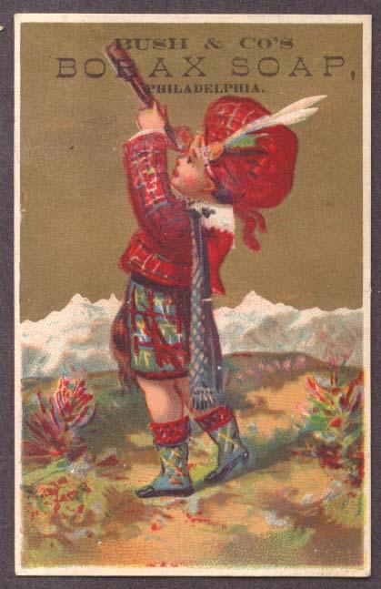 Bush's Borax Soap trade card Scottish boy spyglass