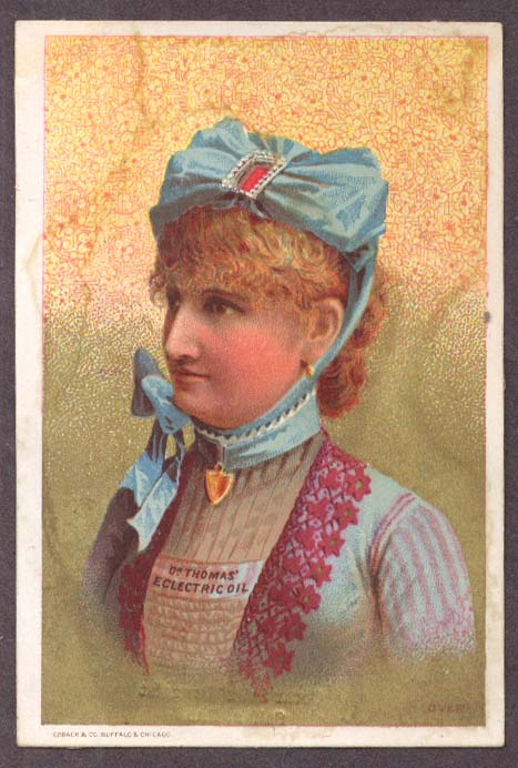 Image for Dr Thomas Ecelctric Oil trade card girl blue bonnet