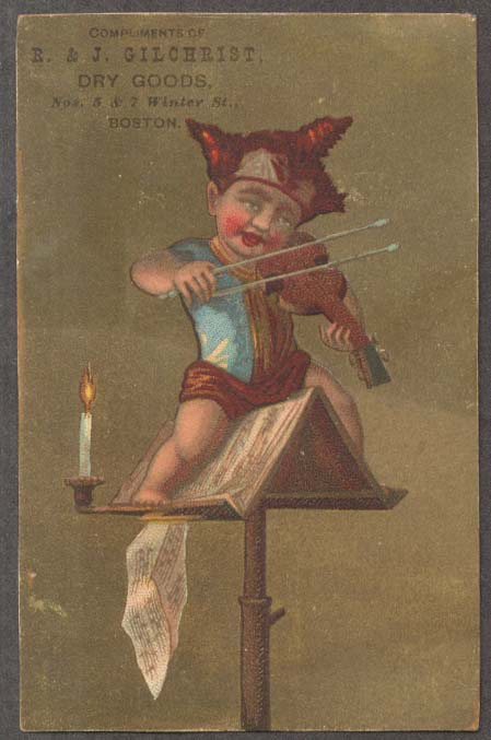 R&J Gilchrist Dry Goods Boston trade card boy fiddler