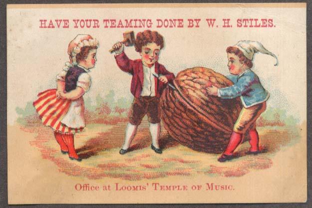 Image for W H Stiles Teaming trade card crack huge walnut