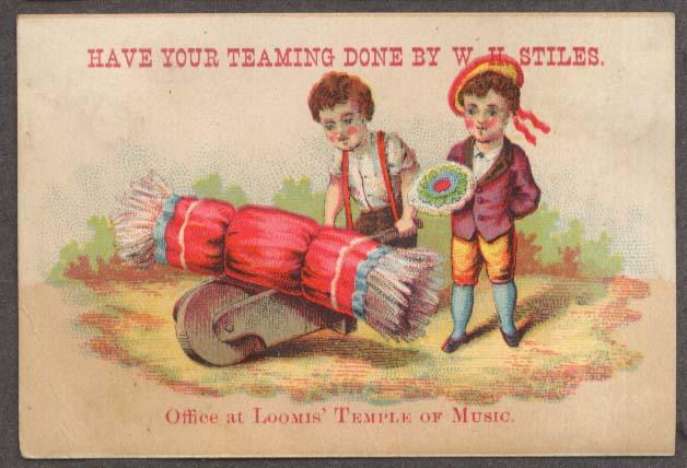 Image for W H Stiles Teaming trade card kids wheelbarrow