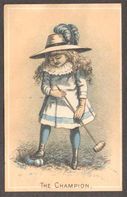 Image for Little girl in bonnet The Champion Croquet trade card