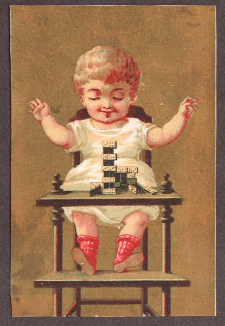 Child high chair domino pile-up trade card