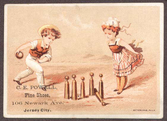 Image for CE Powell Shoes Jersey City trade card children bowling