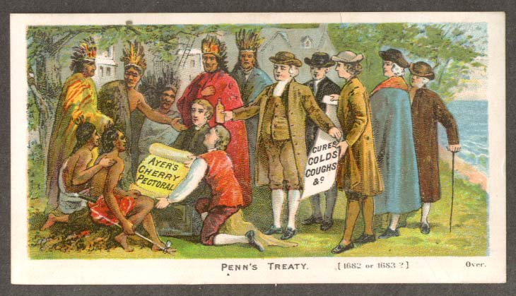 Ayer's Chery Pectoral Penn's Treaty trade card Indians