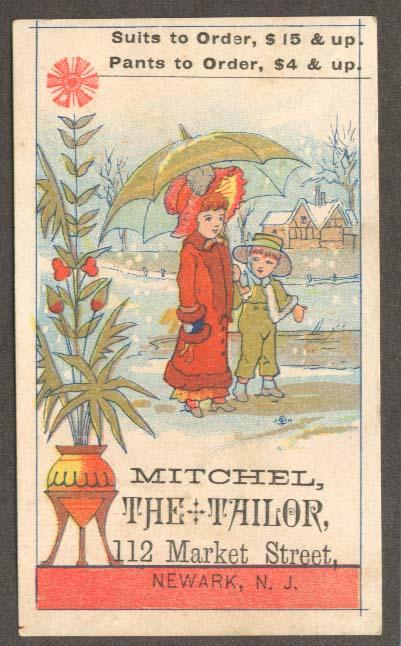 Image for Mitchel the Tailor Newark NJ trade card kids umbrella