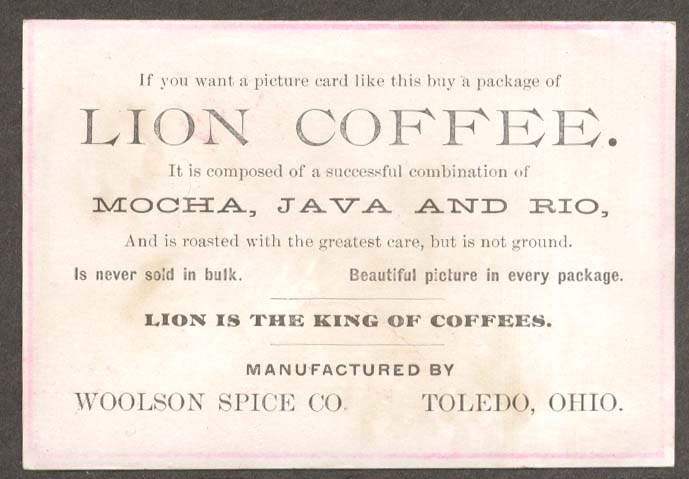 Image for Woolson Spice Lion Coffee trade card Toledo OH