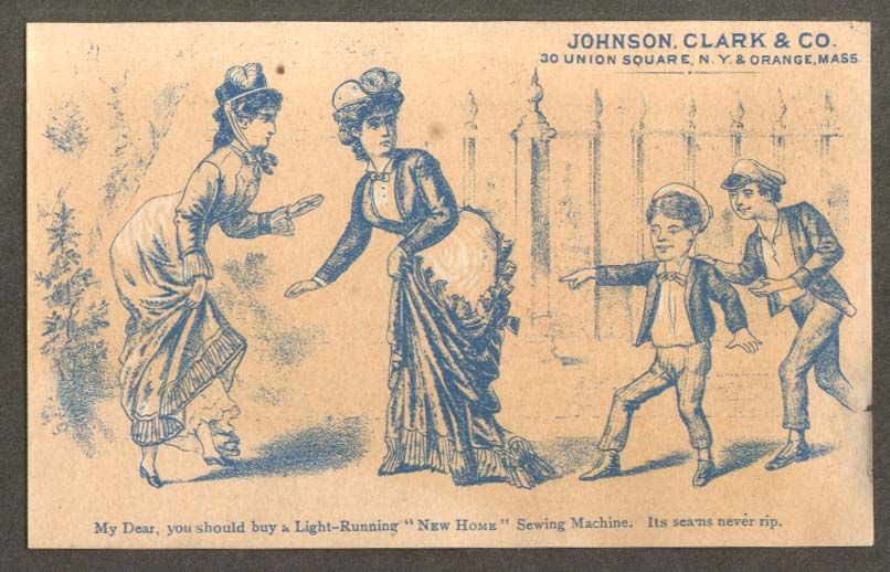Johnson Clark New Home Sewing Machine dress rip card