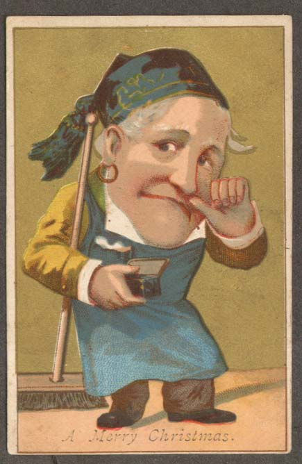 Image for Merry Christmas trade card man snorts snuff