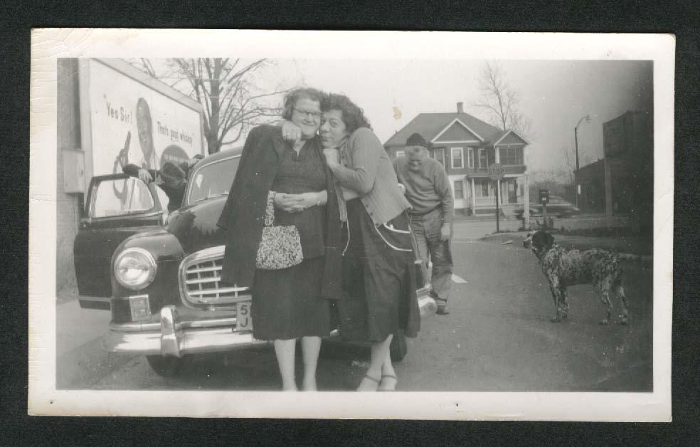 2 gals hug 1950 Nash dog snapshot 1950s