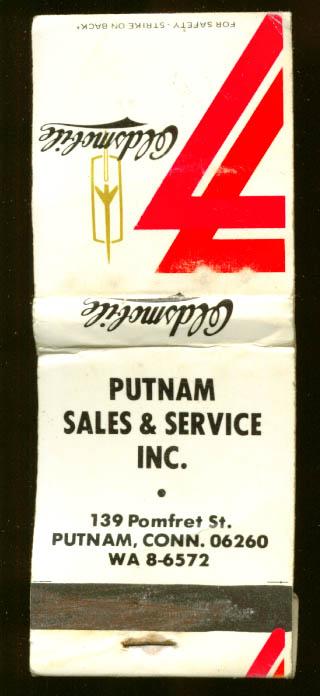 Putnam Oldsmobile Putnam CT matchbook 1977