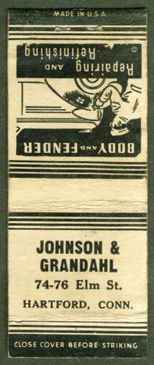 Johnson & Grandahl Body Shop Hartford CT matchcover 30s