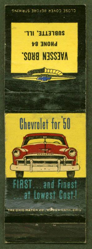 1950 Chevrolet Vaessen Bros Sublette IL matchcover