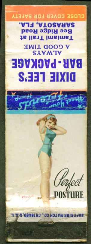 Perfect Posture Petty pin-up matchcover Dixie Lee's FL