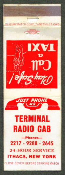 Terminal Radio Cab 24hr Service Ithaca NY matchcover