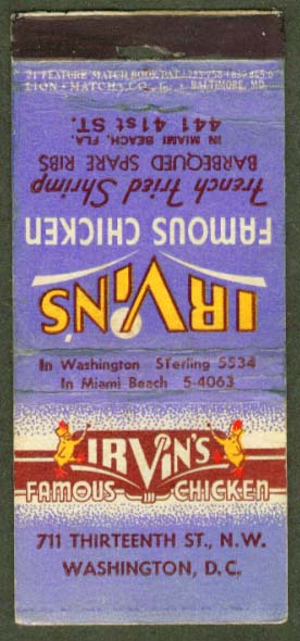 Irvin's Famous Chicken Washington DC matchcover