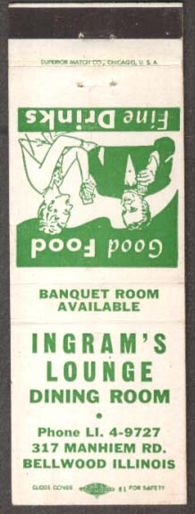 Ingram's Lounge Dining Room Bellwood IL matchcover