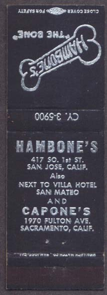 Hambone's San Jose Capone's Saacramento CA matchcover