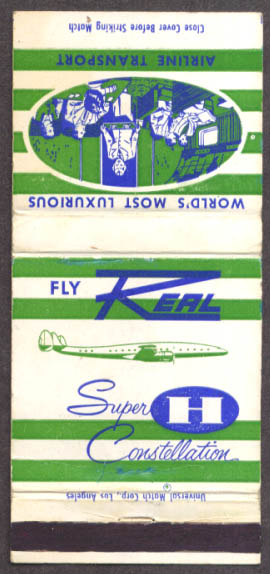 Real Airlines Super H Constellation Airliner matchcover