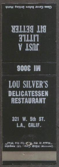 Lou Silver's Delicatessen Los Angeles CA matchcover