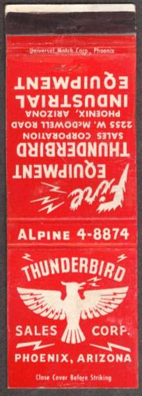 Thunderbird Fire &  Industrial Equipment Phoenix matchcover