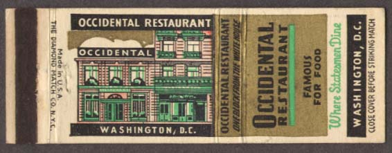 Occidental Restaurant Washington DC matchcover