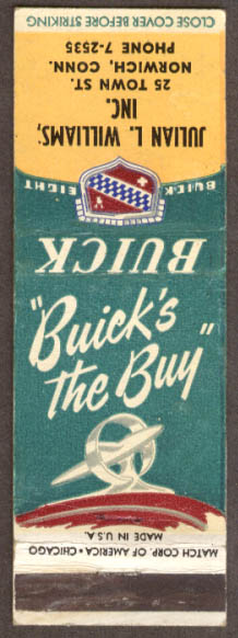 Buick's the Buy Williams Buick Norwich CT matchcover