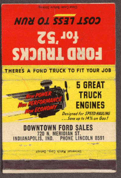 1952 Ford Trucks Downtown Ford Indianapolis matchcover