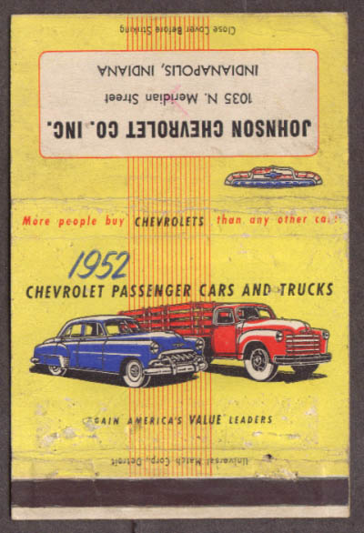 1952 Chevrolet Cars & Trucks Johnson Indpls matchcover