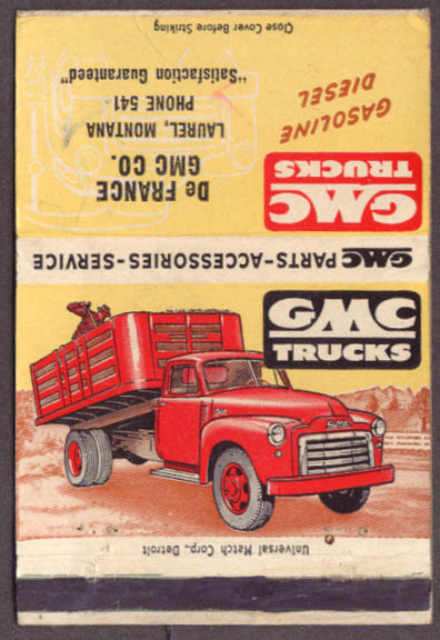 1951-2? GMC Truck De France Laurel MT matchcover