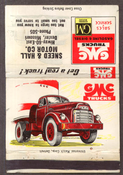 1952 ? GMC Truck Smeed & Hall Dexter MO matchcover