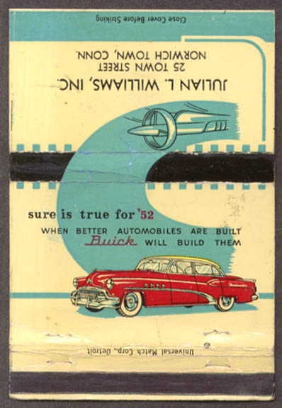 1952 Buick Julian L Williams Norwich Town CT matchcover