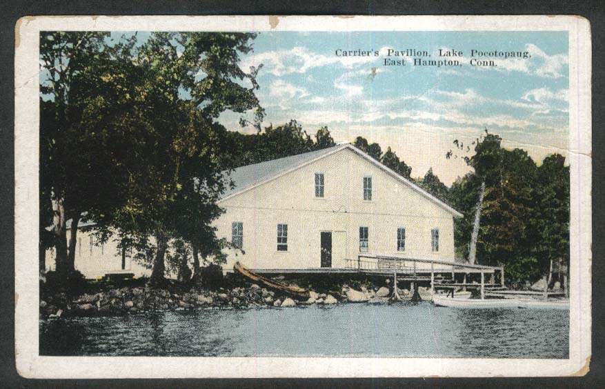 Image for Carrier's Pavilion Lake Pocotopaug East Hampton CT postcard 1910s
