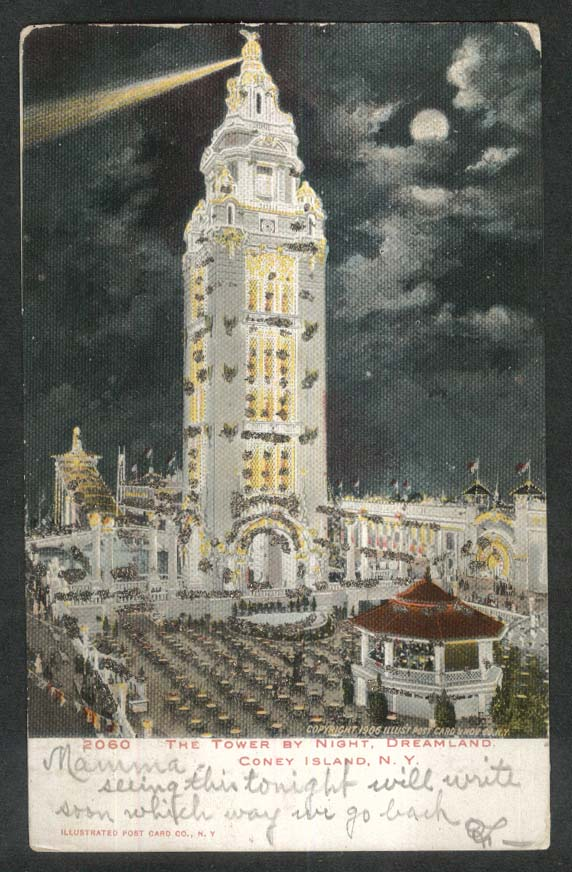 Image for Dreamland Tower Coney Island postcard 1906