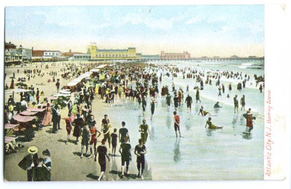 Image for Atlantic City Bathing Scene postcard 1910s