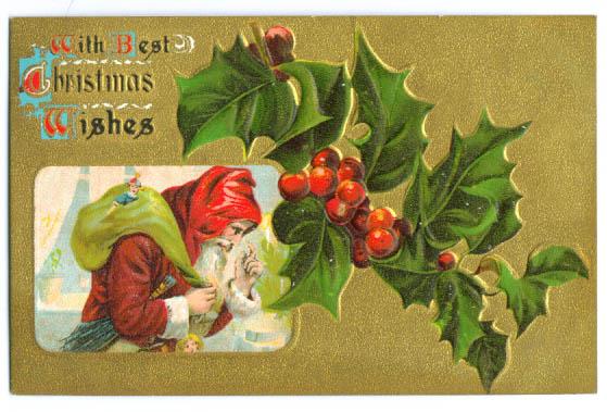 Image for Santa Claus Christmas w/ elf postcard 1900s