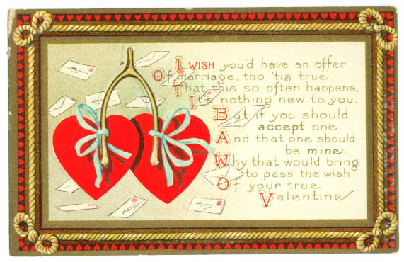 Image for Wishbone marriage embossed Valentine postcard 1910s