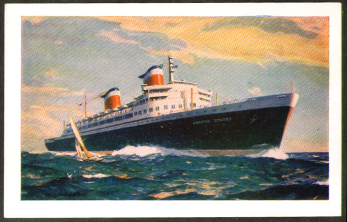 S S United States ocean liner postcard 1950s