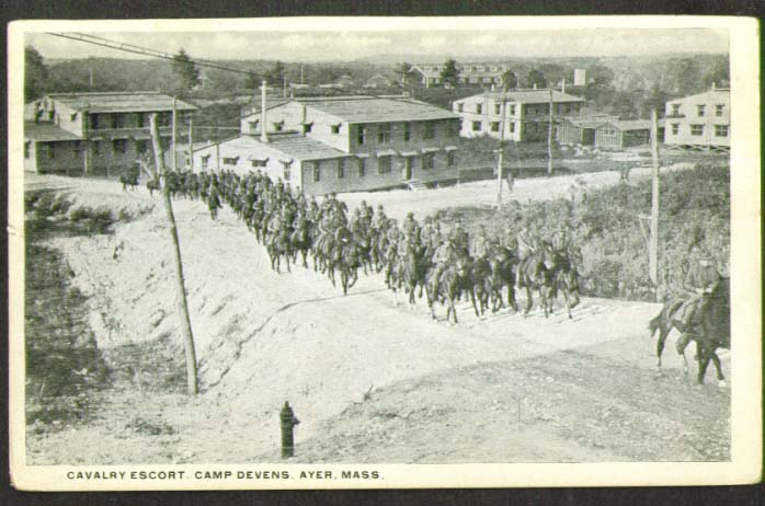 Image for Cavalry Escort Camp Devens Ayer MA card 1910s
