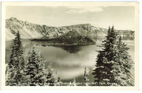 Image for Wizard Island Crater Lake OR RPPC photo postcard 1948