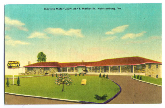 Marvilla Motor Court Harrsionburg VA postcard