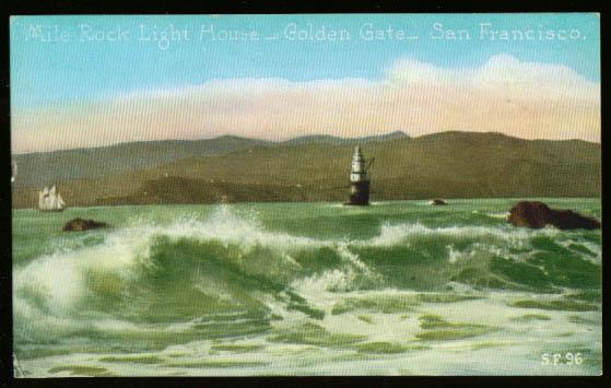 Image for Mile Rock Light House San Francisco postcard 1910s