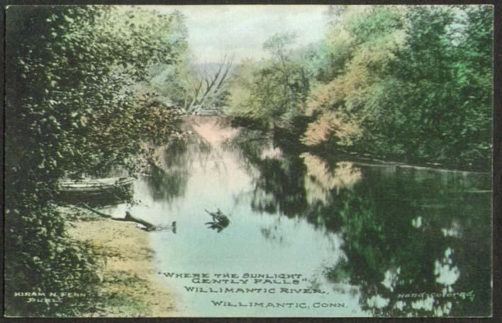 Image for Willimantic River CT postcard 1913 Hiram Fenn, Publisher