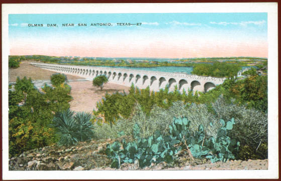 Image for Olmas Dam San Antonio TX postcard 1910s