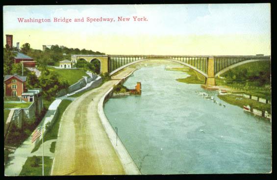 Image for Washington Bridge & Speedway NY City postcard