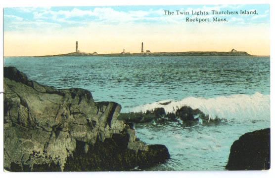 Twin lighthouse Thatchers Island MA postcard